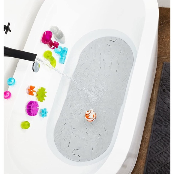 Baby boon kids bath mat gray with suction & hook
